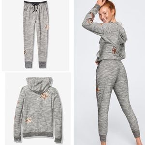 VS PINK Bling Perfect Full-Zip Hoodie And Jogger L